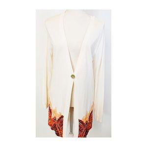 EMMA JAMES Cardigan Sweater size Large white print
